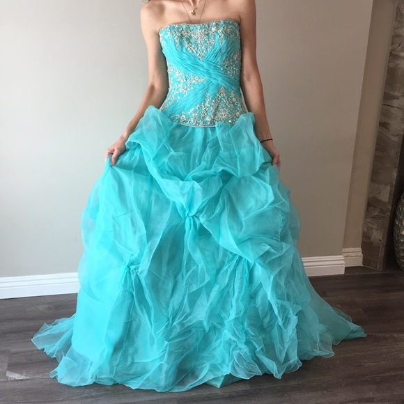 Allure Bridals Dresses | Beautiful Teal Blue Evening Gown | Poshmark